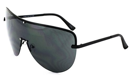 Elite XXXL OVERSIZED Huge Big MASK SHIELD Half Face Owen Large Sunglasses (Black-Black, 165) (Black-Black, - Face Glasses Big