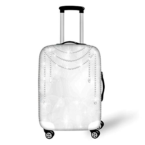 Travel Luggage Cover Suitcase Protector,Pearls Decoration,Diamonds Stones Pearls Hanging Necklace Luxury Bridal Decor Image,Grey White,for TravelS 19x27.5Inch ()