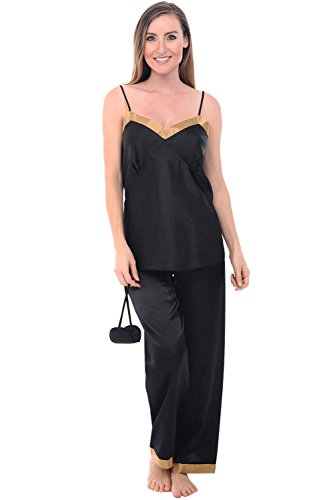 Womens Cami Top Pants (Alexander Del Rossa Womens Satin Pajamas, Cami Top Pj Set with Sleep Mask, Large Black (A0730BLKLG))