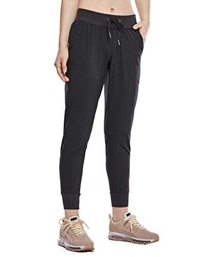 (CRZ YOGA Women's Light Weight Drawstring Training Sports Jogger Pant with Pocket Black L(12))