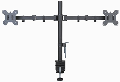 """Husky Mounts Dual Monitor Stand Full Motion Swivel Tilt Fully Adjustable Computer Desk Mount Bracket with clamp and Grommet mounting Options Holds 2 two Screens up to 27"""" each, Heavy ()"""