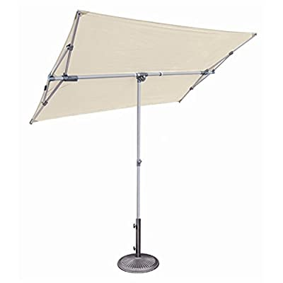 SimplyShade Capri Patio Umbrella in Natural - Canopy features infinite 360-degree tilt that lets you adjust shade position as you need Umbrella easily adjusts up to over 6-feet tall tall with minimal effort; quick-twist knobs hold umbrella height in place Protect yourself from harmful UV rays, rain, and wind while enjoying your outdoor living space with this rectangular balcony umbrella - shades-parasols, patio-furniture, patio - 314Gj%2BBSCBL. SS400  -