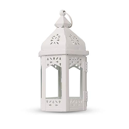 HOWOLL Decorative Lanterns Metal Tealight Amber Glass Outdoor Hanging Lantern Use As Decoration for Wedding and Birthday Parties (White)