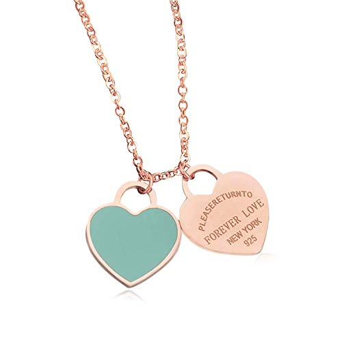 Designer Inspired Rose Gold Titanium Steel Forever Love Double Heart Pendant Necklace (Blue ()