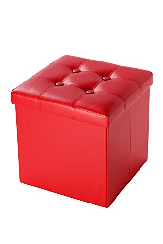 Faux Leather Cube Folding Storage Ottoman With Tufted Design 15 Inches, Red - Leather Recliner Footstool