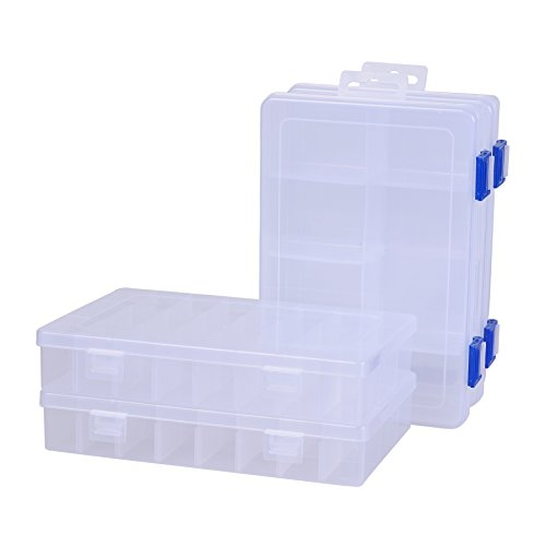 Adjustable File Dividers (Pack of 4 Plastic Storage Box with Adjustable Dividers for Beads, Jewelry,Tools and Fishing Lures(2pc Organizer Box with 24 Grids & 2pcs Box with 8 Grids))
