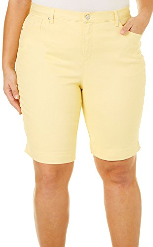 Gloria Vanderbilt Plus Amanda Bermuda Eysee Shorts 16W (Yellow Bermuda)