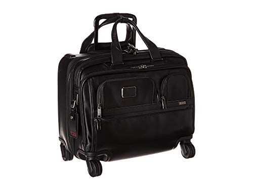 - TUMI - Alpha 3 Deluxe 4 Wheeled Leather Laptop Case Brief - 17 Inch Computer Brief for Men and Women - Black
