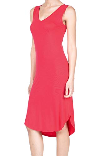 8037 Women's Jersey Sleeveless V-Neck Midi Tank Dress Coral L