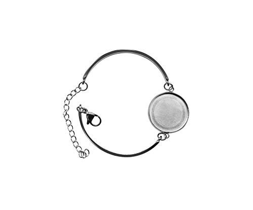 SHUNAE 10pcs Stainless Steel Bangle Settings 20mm Round Blank cabochon Bracelet Base Trays DIY Bracelets Making - Glass Bracelet Pendant