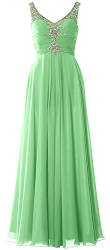 MACloth Women Long Prom Dress Crystals Chiffon V Neck Formal Party Evening Gown Menta