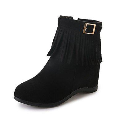 Black Cashmere Round CN40 US8 Boots 5 Burgundy Women'S Low EU39 Toe Casual Fall Tassel Boots UK6 5 Fashion RTRY Shoes For Heel qxZgw41E
