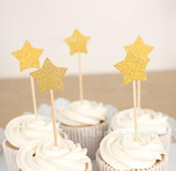Ecago Twinkle Gold Star Cupcake Toppers DIY Glitter Mini Birthday Cake Snack Decorations Picks Suppliers Party
