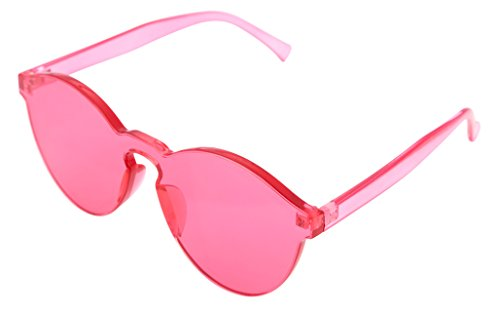 FEISEDY Stylish Round Transparent Lens Rimless Flame Sunglasses - All Red Sunglasses Round Clear