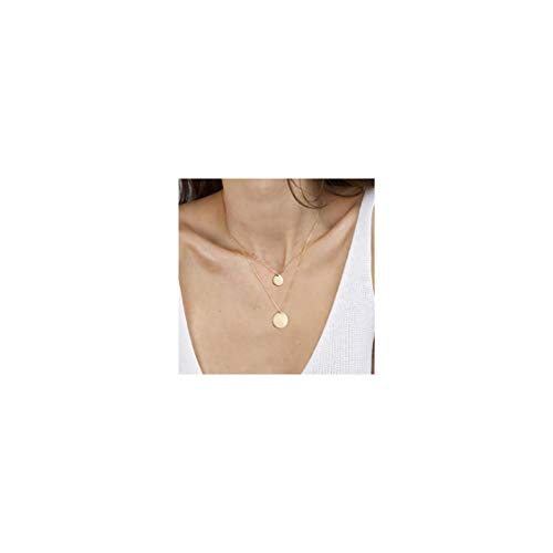 - Gold Tiny Layered Dainty Necklace 18K Gold Plated Cute 2 Layered Circle Round Disc Handmade Dainty Charm Minimalist Simple Chain Pendant Necklace for Women