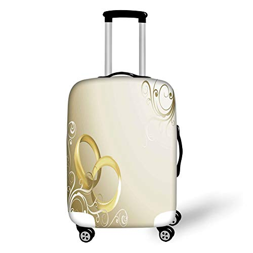 Wheel Ships Sepia - Travel Luggage Cover Suitcase Protector,Wedding Decorations,Two Wedding Rings Entangled Swirled Floral Framework Romantic,Sepia Gold White,for TravelL 25.9x37.8Inch