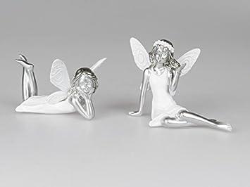 Deko Weiß Silber.Formano Deko Paar Elfe 2 Tlg 17 Cm Weiß Silber Amazon
