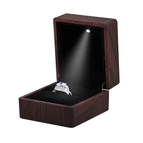 Naimo Wood Print Engagement Ring Box Earrings Coin Jewelry Box with LED Lighted up for Proposal Engagement Wedding Gift