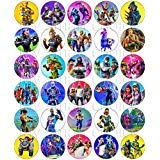 30 x Edible Cupcake Toppers - Fortnite Themed Collection of Edible Cake Decorations   Uncut Edible Prints on Wafer Sheet