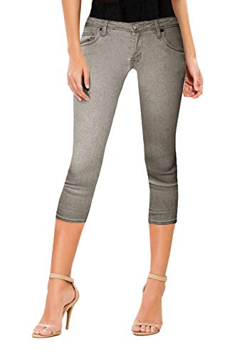 HyBrid & Company Women's Perfectly Shaping Stretchy Denim Capri-Q22882-GREY-3
