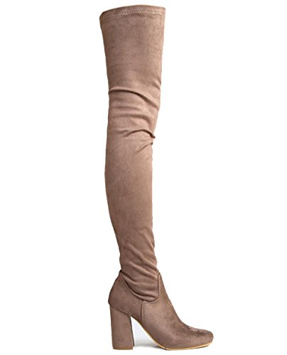 J. Adams Chunky Heel Thigh High Boot, Taupe Suede, 11 B(M) US
