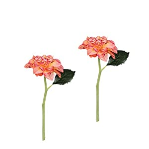 "Sullivans Set of 2 Artificial Coral Pink Dahlia Flower Stems, 11"" 46"