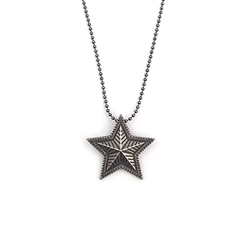 SAWADA Unisex 316L Titanium Steel Five Pointed Star Pendant 3D Pentacle Pagan Wiccan Witch Solid Pentagram Vintage Necklace for Man and Woman -