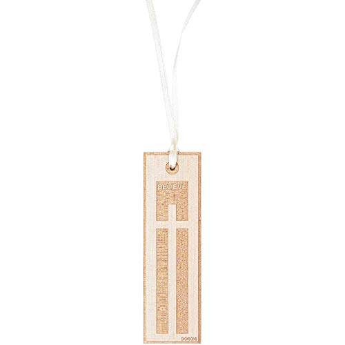 (Believe Two-Tone Etched Cross Natural Wood Tassel Bookmarks, Pack of 6)