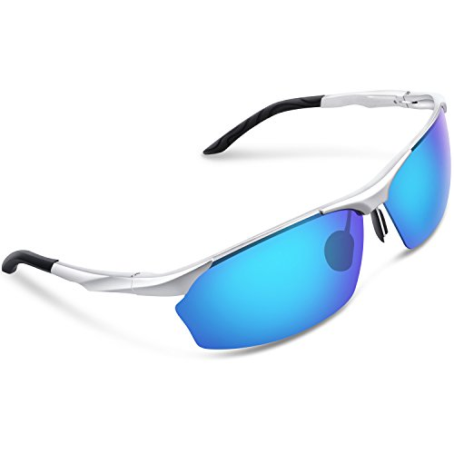 63d75d1284 Galleon - Torege Men s Sports Style Polarized Sunglasses For Cycling  Running Fishing Driving Golf Unbreakable Al-Mg Metal Frame Glasses M292  (Sliver Blue ...