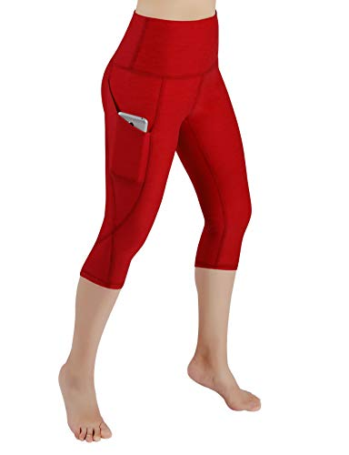 ODODOS Women's High Waist Yoga Capris with Pockets,Tummy Control,Workout Capris Running 4 Way Stretch Yoga Leggings with Pockets,Red,Large (Danskin Now Womens Performance Capris With Mesh Detail)