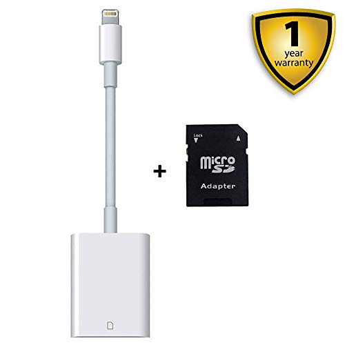 SD Card Reader, Lightning Adapter for iPhone (Requires iOS 9.2 or Later), Trail Game Cameras Viewer for iPhone X/8 Plus/8/7 Plus/7/6s Plus/6s/6 Plus/6/5/5S iPad Mini/Air, No App Required [Upgraded]