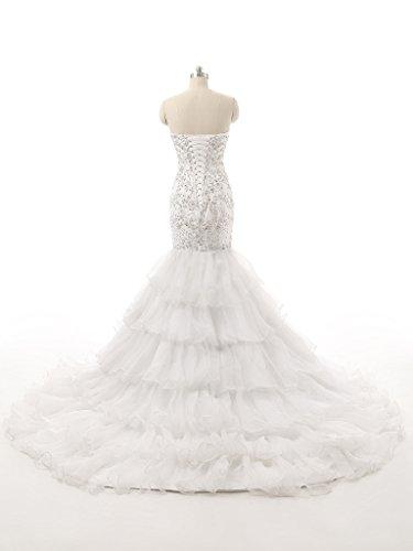 Perlant Sirène Dzdress Robe De Mariée Tribunal Train Hiérarchisé Blanc
