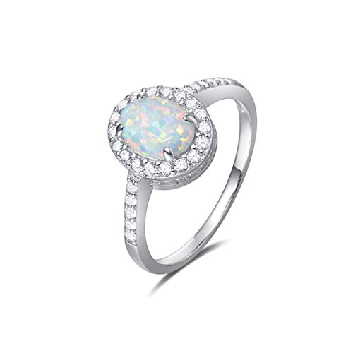 (FANCIME 925 Sterling Silver White Created Opal Oval Rings Gold Plated Dainty Engagement Rings for Women, Size 7 )