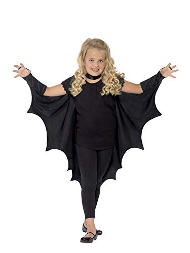 Smiffys Kids Unisex Vampire Bat Costume, Wings, Black, One Size,  44414 (Bat Costumes For Kids)