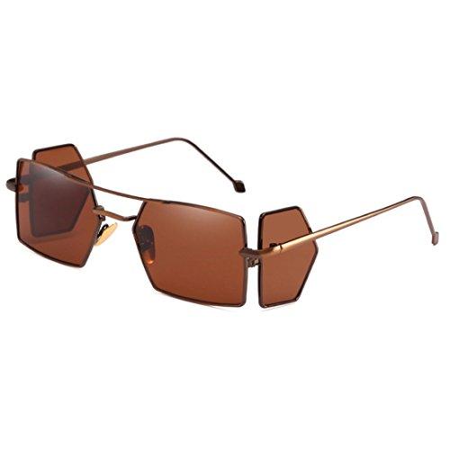For rectangle Lens Hombres Sun glasses Mujeres Yefree Café Vintage Retro Four Glasses Marrón Sunglasses WTgngF8v