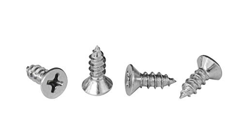 #8 x 1/2 Phillips Flat Head Countersink Screw, Zinc-Plated Steel for Attaches Sheet Metal to Wood, Plastic, Or Fiberglass - Box of 100