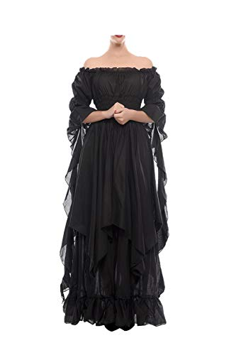 NSPSTT Womens Renaissance Medieval Costume Gypsy Long Sleeve Dress Top and Skirt (L/XL, Black)