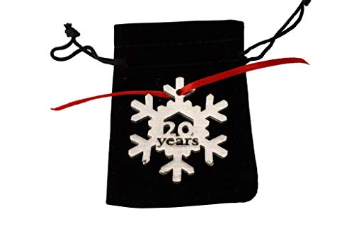 - 20 Years Cut Out Metal Snowflake Christmas Tree Hanging Decoration - 20th Wedding Anniversary