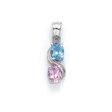 Sterling topaze bleue argentée et pendentif-JewelryWeb