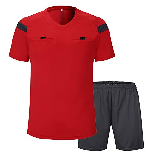 Shinestone Men's Soccer Short Sleeves Referee Jersey Referee T-Shirt (Red, -