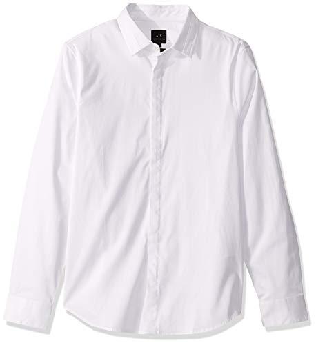 A|X Armani Exchange Men's Long Sleeve Cotton Stretch Satin Button Down Shirt, White, L
