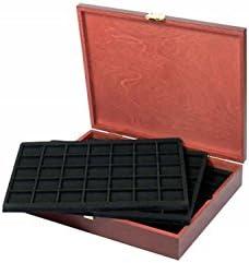 Caja de monedas de madera con 5 bandejas negras de monedas ...