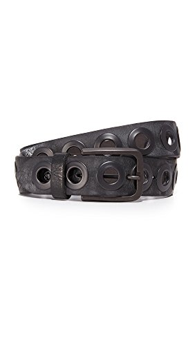 B. Belt Women's Gunmetal Ring Belt, Black, Large by B. Belt