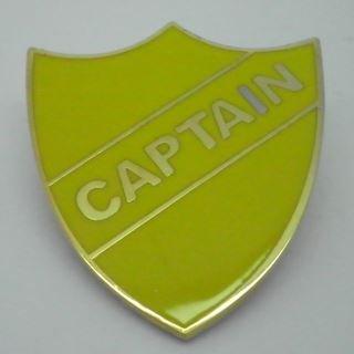 Captain Enamel School Shield Badge - Yellow - Pack of 5