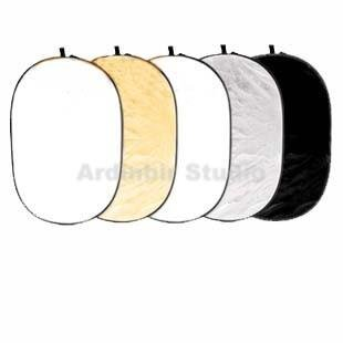 Ardinbir Studio 60'' x 80'' (150 x 200cm) 5 in 1 Oval Collapsible Disc Photo Reflector/Diffuser Kit: Gold Silver Black White Translucent Set by Ardinbir Studio