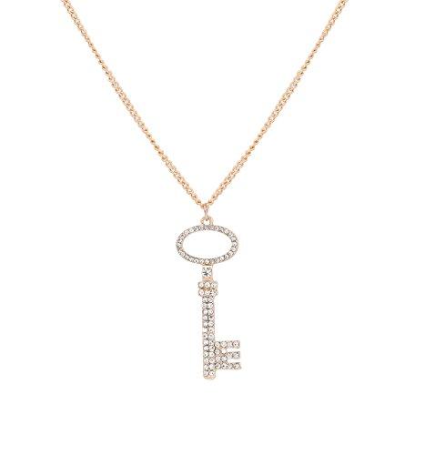 LPON Key Pendant Necklace for Women Girls Charm Rhinestone Key to My Heart Pendant Necklace Jewelry (Gold) ()