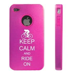 Apple iPhone 4 4S 4 Hot Pink D3168 Aluminum & Silicone Case Cover Keep Calm and Ride On Bicycle