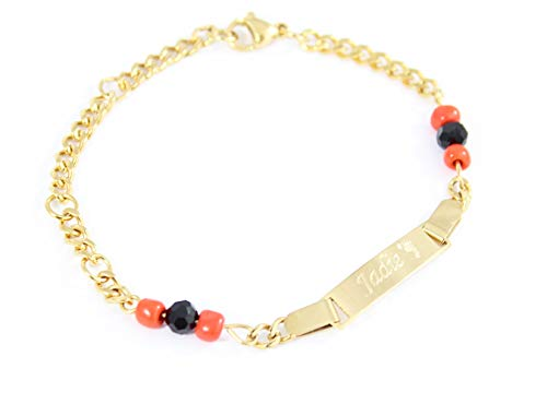 Tina&Co Personalized 18k Gold Plated Figa Hand Simulated Azabache Bracelet Evil Eye Protection