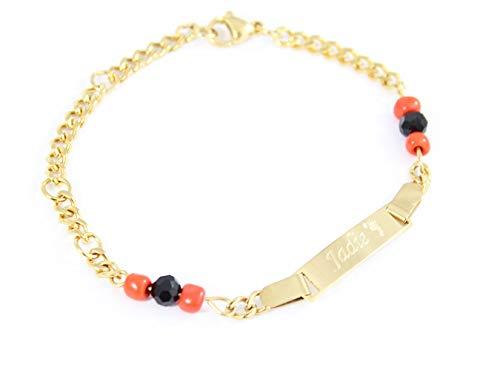 Tina&Co Personalized 18k Gold Plated Figa Hand Simulated Azabache Bracelet Evil Eye Protection Black Gold Baby Bracelets