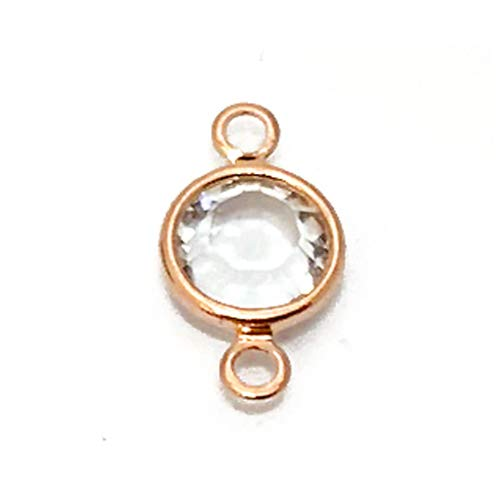 - 20 Pc Rose Gold Plated Swarovski Birthstone Links, 6mm Swarovski Birthstone Channel Links Rose Gold Plated, Choose Your Color 6mm Stone (Crystal - April)